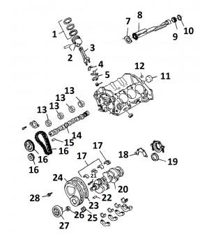 descriptif pièces internes bas moteur V6 4.3L