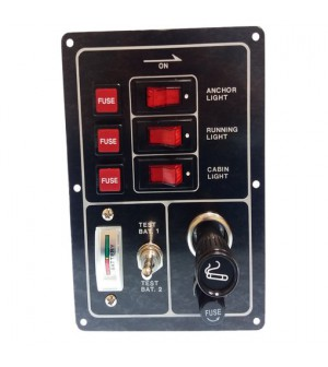 tableau 3 interrupteurs+testeur batterie+allume cigare