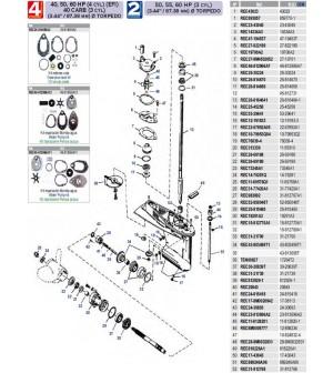 "40/50/60 cv (4cyl)(EFI) 40 carb(3cyl) (3.44""/87.38mm) diam torpedo 4 temps"