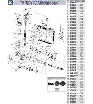 40 à 60cv(1975 à 2006) 60 à 75 cv(1975 à 2001) 2 et 3 cyl LOOPCHARGED petite embase